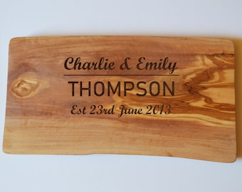 Personalised Engraved Solid Olive Chopping Cheese Board Wedding Engagement Moving In Gift