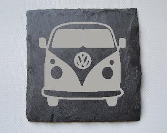 Campervan Engraved Slate Coasters, Custom Coasters, Campervan Lovers, VW Lovers, Birthdays, House Gift, Anniversary Gift