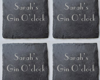 Personalised Engraved Slate G&T Coasters, Drinks Coasters, Gin Lovers, Birthday Gift, Wedding Gift, Custom Coasters, House Gift, Anniversary