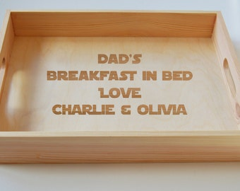 Fathers Day Gift, Personalised Wooden Tray, Dads Breakfast Tray, Tea Tray, Gardening Tray, Engraved Family Tray