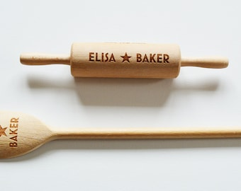 Childrens Personalised Star Bake Off Spoons and Rolling Pin, Custom Wooden Spoons, Childrens Birthday, House Gift, Baking Parties