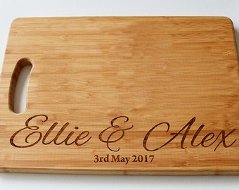 Personalised Wedding Gift- Wood Chopping Board -Engraved Cutting Board - Custom Made - Cutting Board - Made to Order