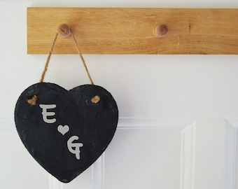 Valentines Gift Slate Heart, Personalised Hanging Slate Sign