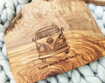 Campervan Chopping Board, Olive Wood Board, Cheese Board, Camp More, Work Less VW Board