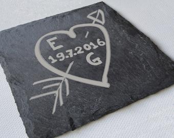 Personalised Engraved Slate Coasters, Wedding Gift, Valentines Gift, Custom Coasters, Slate Tiles, House Gift, Anniversary