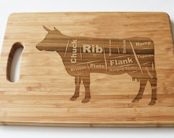 Butchers Cow Solid Wooden Chopping Board - Engraved Word Art - Cutting Board, Meat Board