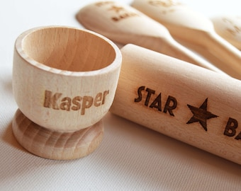 Personalised Childrens Rolling Pin & Egg Cup, Custom Engraved Wooden Rolling Pin, Star baker, Birthday, Baking Parties