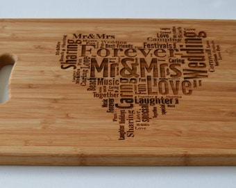 Engraved Heart Large Solid Wooden Chopping Board, Cutting Board, Cheese Board
