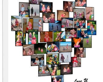 Heart Photo Collage on Canvas, Ready to hang