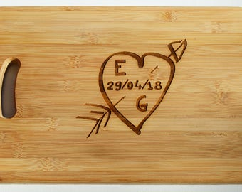 Personalised Wedding, Anniversary Gift- Wood Chopping Board -Engraved Heart Cutting Board - Custom Made - Cutting Board - Made to Order