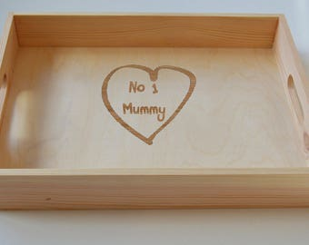 Personalised Wooden Tray, Mums Breakfast Tray, Mums Tea Tray, Gardening Tray, Engraved Family Tray 40x30cm