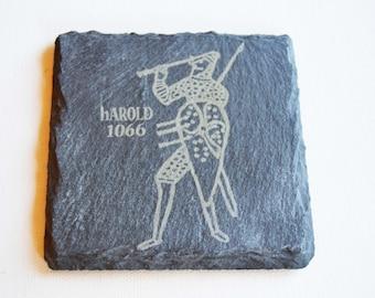 Hastings 1066 Slate Coasters, King Harold 1066 Slate Coasters, Battle of Hastings Gift, Engraved Slate Coasters, Custom Coasters