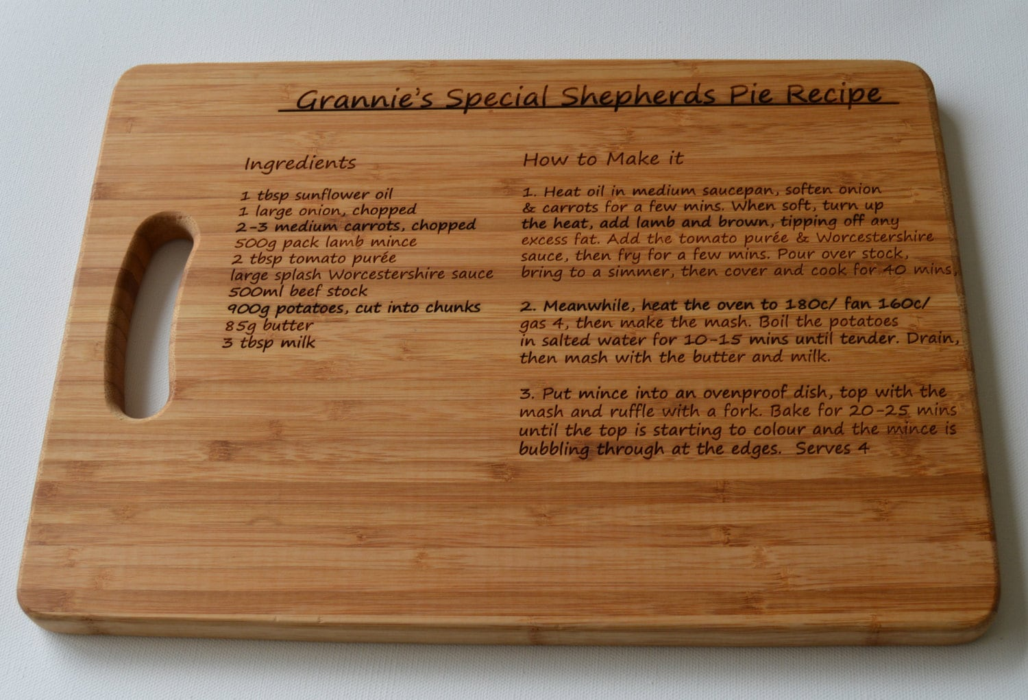 Personalised Chopping Board Recipe Large Solid Wooden Chopping Board