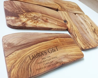 Drinks Wooden Chopping Board - Light Wood - Cutting Board - Made to Order