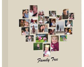 Family Tree Heart shaped Photo Collage on Canvas, Ready to hang