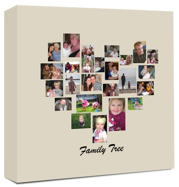 Family Tree Heart Shaped Photo Collage On Canvas Ready To Etsy