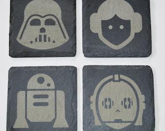 Wood & Slate Engraved Star Wars Coasters, Custom Coasters, Star Wars Fans, Wedding Gift, House Gift, Anniversary
