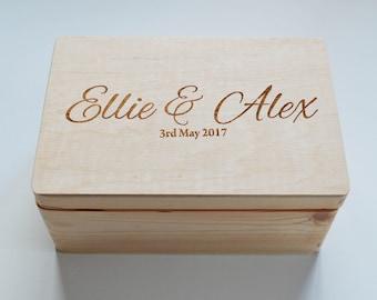 Personalised Wooden Wedding box, Mr&Mrs box, Photo Box, Photo Album, Guest Book, Personalised box, Keepsake box, Memory Box, Made to Order