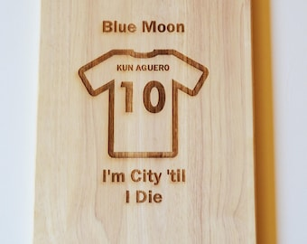Manchester City Man City Chopping Board Fans Dad Son Gift Cheese