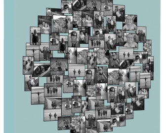 CIRCLE Shape Photo Collage on Canvas, Personalise Collage Framed Ready to Hang