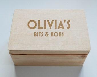 Personalised Childrens Keepsake Wooden Box, School Achievements box, Reward Box, Photo Box,  Memory Box, Jewellery Box, Lego Box