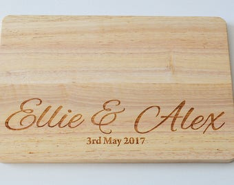 Personalised Wedding Gift, Engraved Wood Chopping Board