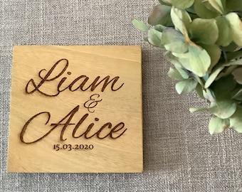 Wedding Coaster Favours, Personalised Engraved Wood Coasters, Bulk Order 2 - 50 Coasters, Wood Anniversary Gift