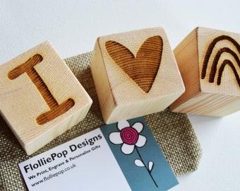 Wooden Letter Blocks, Personalised Baby Building Blocks, Baby Gift, Rainbow Wood Blocks