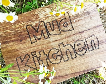 Personalised Mud Kitchen Reclaimed Solid Oak Wood Sign, Engraved Mud Kitchen Sign, Indoor Sign, Outdoor Sign