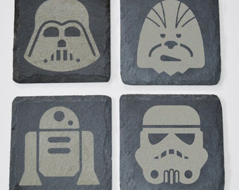 Slate and Wood Engraved Star Wars Coasters, Custom Coasters, Star Wars Fans, Wedding Gift, House Gift, Anniversary