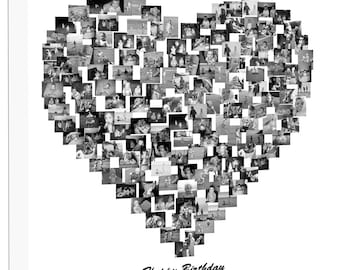Heart Shape Photo Collage on Canvas, Personalise Collage Framed Ready to Hang