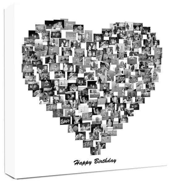 Heart Shape Photo Collage On Canvas Personalise Collage Etsy