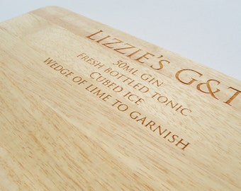 G&T or Vodka Chopping Board, Personalised Drinks Chopping Board, Wooden Cutting Board, Drinks Preparation Board, Cutting Board
