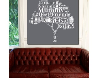 Word Art Canvas Family Tree Word Art Printed and Framed on Canvas, Ready to Hang