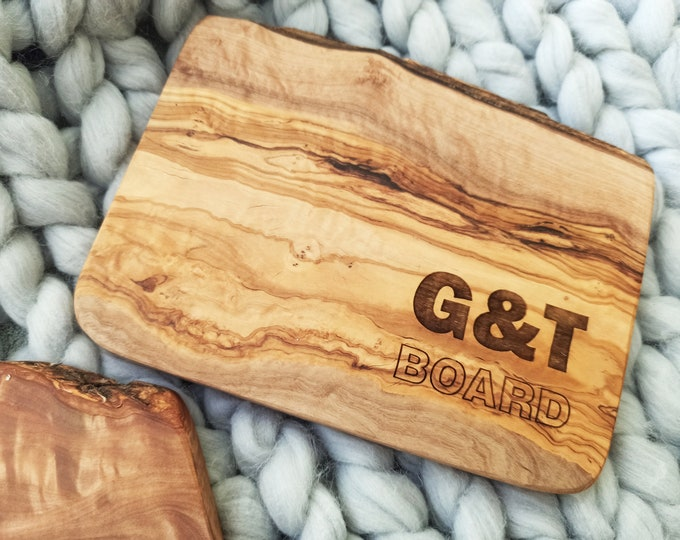 Featured listing image: Gin & Tonic Chopping Board, G and T Olive Wood Board, Drinks Board