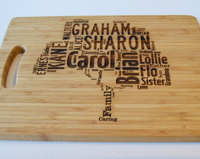 Featured listing image: Personalised Large Solid Wooden Chopping Board - Engraved Word Art - Personalised Family Tree Design - Cutting Board - Made to Order
