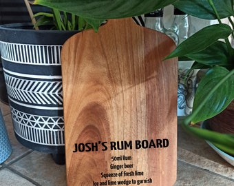 Personalised Rum Recipe Board, Engraved Solid Acacia Drinks Cutting Board, Drinks Board