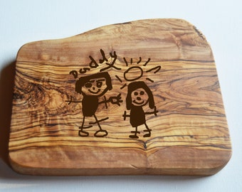 Childrens Drawing Engraved on Chopping Board, Olive Wood Board