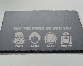 Engraved Star Wars Slate Cheese Board, Slate Plate - Made to Order Star Wars Family
