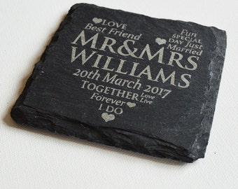 Personalised Engraved Slate Coasters, Bulk Order 2 - 50 Slate Coasters, Wedding Favours / Gifts Custom Coasters, Slate Tiles Wedding Gift