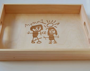 Personalised Breakfast Tray, Your Childs Drawing Engraved on Wooden Tray, Tea Tray,  Serving Tray, Gardening Tray, Engraved Family Tray
