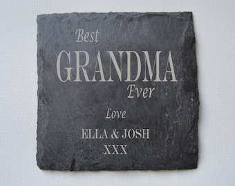 Mothers Day Gift, Personalised Engraved Slate Coasters, Set of Custom Coasters, Slate Tiles Wedding Gift, House Gift, Anniversary