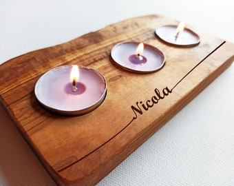 Personalised Engraved Olive Wood Candle Holder, Mothers Day Gift, Engrave Any Text