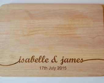 Wedding Gift, Couples Gift, Personalised Chopping Board, Engraved Names Wedding Anniversary Chopping Cheese Board