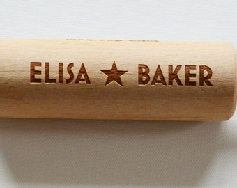 Personalised Childrens Rolling Pin, Custom Engraved Wooden Rolling Pin, Star baker, Birthday, Baking Parties