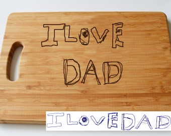 Childrens Art Engraved onto Bamboo Chopping Board, Personalised Gift, Large Solid Wooden Chopping Board, Cutting Board