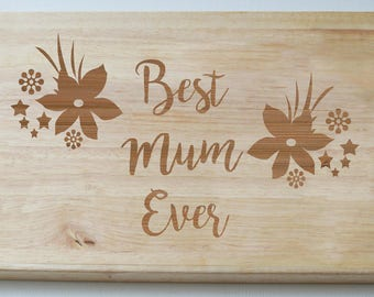 Personalised Engraved, Wooden Chopping Board, Gift for Mum
