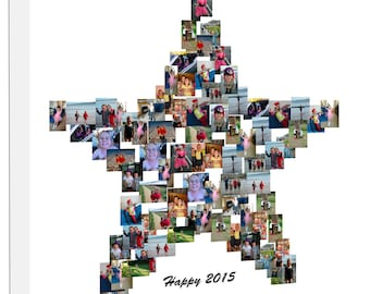 STAR Shape Photo Collage on Canvas, Personalise Collage Framed Ready to Hang