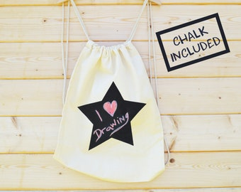 Chalk Your Own Bag, Screen Printed Chalk Board Rucksack, Emoji Bag, Star Bag, Chalk on Kids Rucksack, Design your own Rucksack,