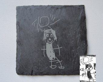 Your Childs Drawing Engraved on Slate Coasters, Custom Coasters, Slate Tiles Wedding Gift, House Gift, Mothers Day Gift